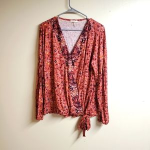 Maurices Floral Long Sleeve Crossover Top